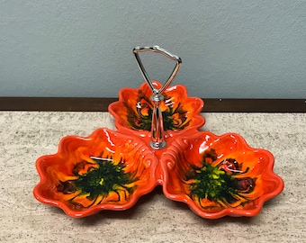 Vintage Orange Green Swirl Ceramic Compartment Snack Trinket Serving Dish With Silver Handle