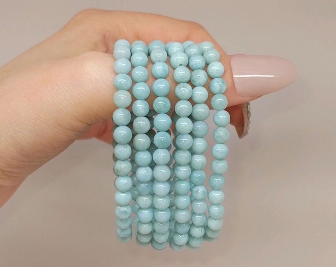 Featured listing image: She's The Sea AAA Larimar 5mm Bead Stretch Bracelet