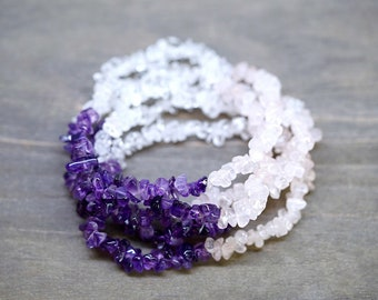 ONE Amethyst/Rose Quartz/Clear Quartz Stretch Bracelet