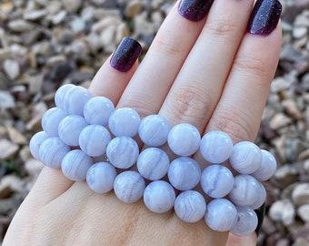 10mm BLUE LACE AGATE Bead Stretch Bracelet