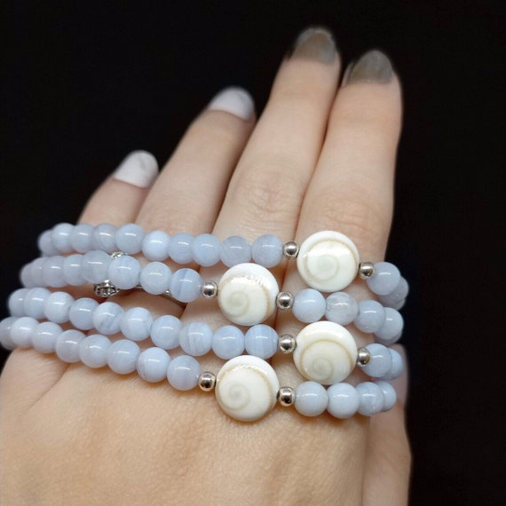 She's The Sea Stretch Bracelet / 5mm Blue Lace Agate, 10mm Shiva Shell, and 3mm Sterling Silver Beads