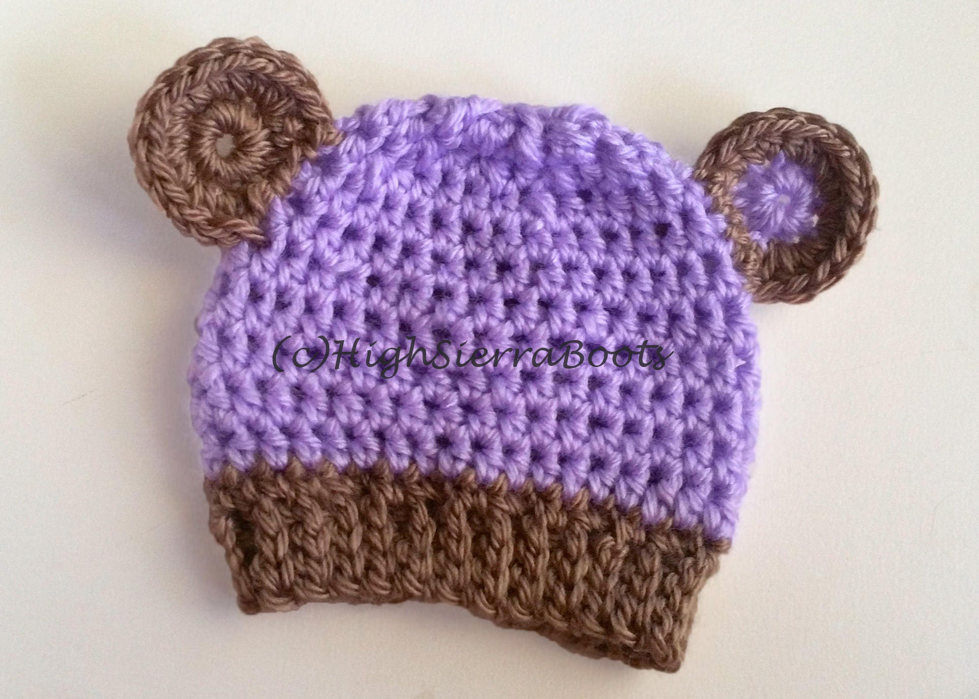 Crochet Baby Bear Hat Pattern Purple Etsy