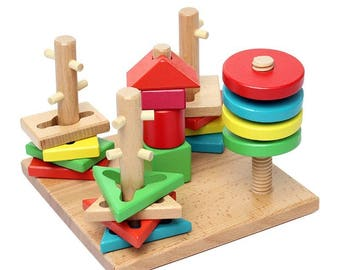 Educational Toys Age 2 : Wooden math blocks math education math activity for ages 3 etsy
