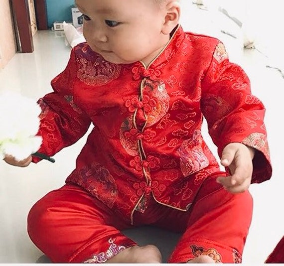 3a6af9e25 Baby Boy Toddler Chinese Traditional Cheongsam for Chinese New | Etsy