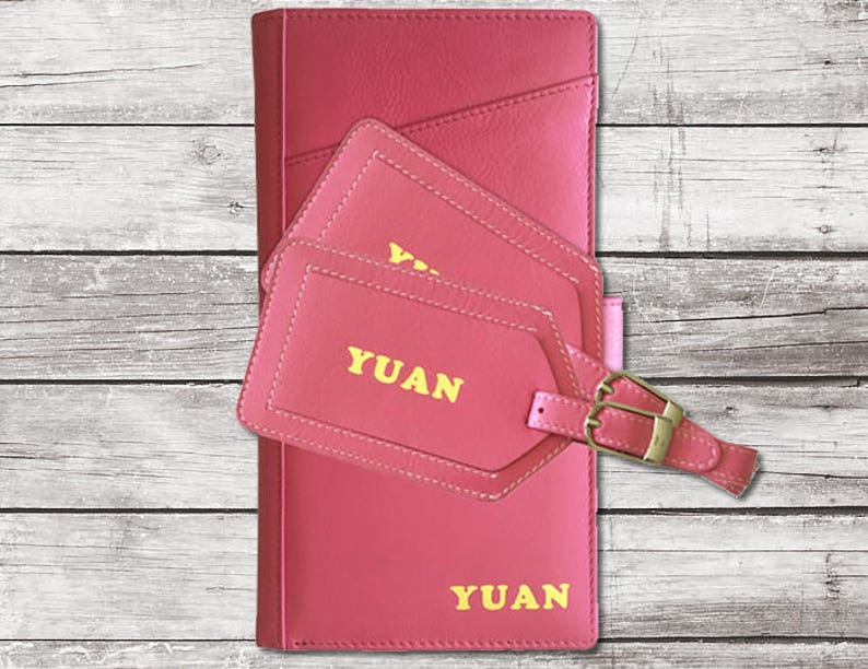 004466c0e579 Personalized Leather Travel Wallet and 2 Luggage Tags, Travel Wallet  Passport Holder, Travel Wallet Organizer, Monogrammed Travel Wallet