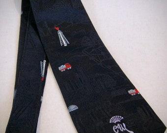 Designer COUNTESS MARA  Neck TIE Silk Dots  Design 1980s Silk  Satin 58 in long C M Logo
