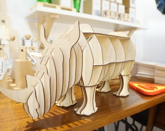 Cabinet rhino, rhinoceros, table, puzzle 3d, plywood, Bookshelf, cardboard, animal safari