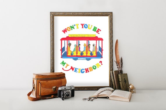 Mister Rogers Neighborhood Trolley Giclee Art Print Fred Etsy