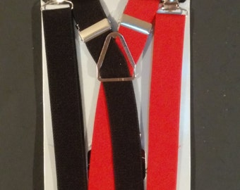 Red & Black Half and Half Suspenders / Braces