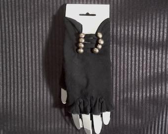 Fingerless Gloves w/Buttons - Black