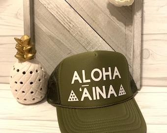 Aloha Aina Trucker Hats Mauna Kea Hawaii Snap back Mesh