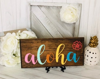 Aloha Wood Sign- welcome sign- rustic wood sign- Hawaii- Plumeria- Front door- home decor- house warming- gift