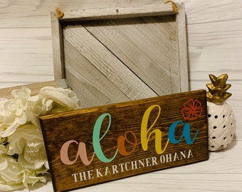 Aloha Wood Sign With Family Name- welcome sign- rustic wood sign- Hawaii- Plumeria- Front door- home decor- house warming- gift