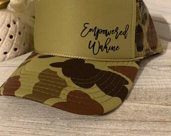 Empowered Wahine Trucker Hats, Empowered woman Trucker hat, Hawaii Snap back Mesh