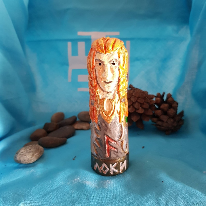 Small Handmade Color Figurine of Loki image 0