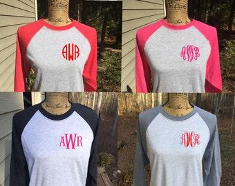 VALENTINE'S DAY SHIRT Monogrammed Raglan on left chest/baseball T shirt