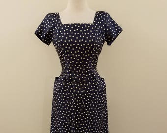 SALE - Vintage 50s Handmade Navy and White Polka Dot Rayon Dress - Fantastic added Details - Wounded but Wonderful - 36-26-36