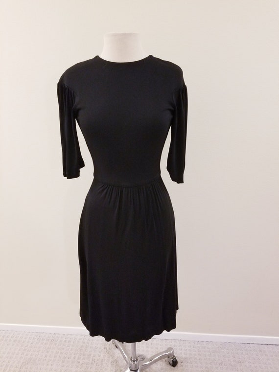 SALE - 60's Vintage Gina Fratini Black Rayon Dres… - image 1