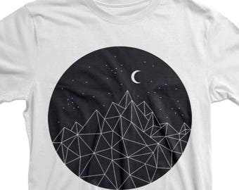 Moon Shirt, Mountain Shirt, Nature t shirt, Camper shirt, Graphic T shirt, Hiking, Camping Shirt, Geometric Tee, Hike Trail, Birthday Gift