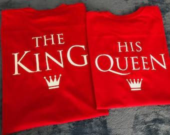 El rey y su reina camisas, pareja de la camiseta, camisa de parejas, que emparejan camisetas, camisa de corona, dos camisetas, regalos de boda, camisas de Rey Reina