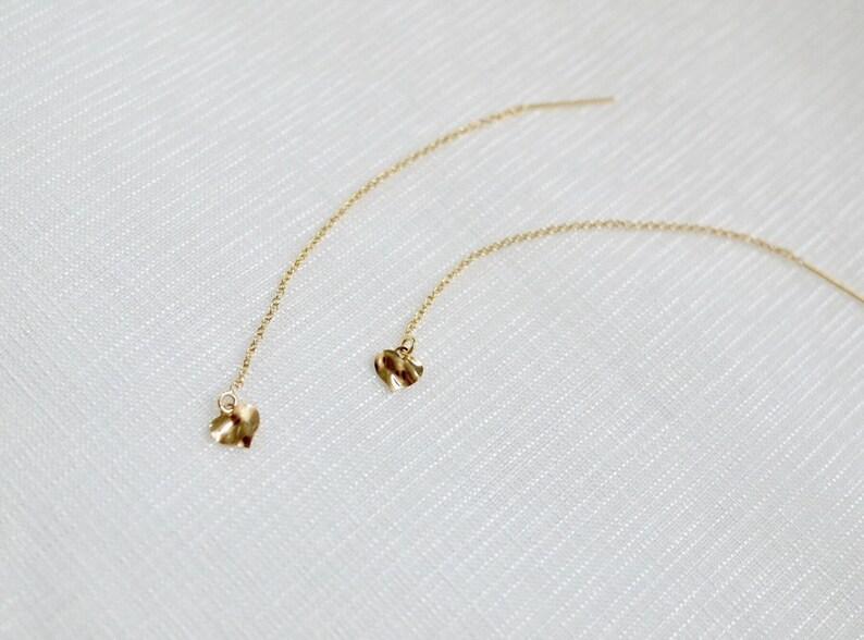 Gold Filled Dangle Heart Earrings,Gold Threader Earrings Minimalist Gold Earrings,Tiny Drop Earrings,Tiny Dangle Earrings Delicate Gold Ea