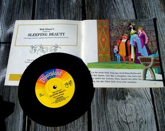 Walt Disneys Story of Sleeping Beauty Read Along Childrens Book and Record Set With Songs From the Film Full Color Illustrated Picture Book