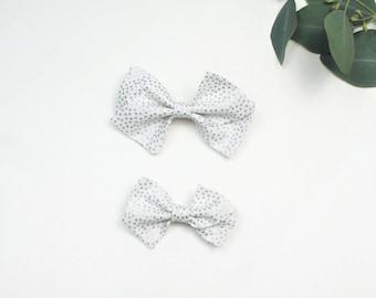 Silver Polka Dot Pinwheel Bow, Large Pinwheel Bow, Small Pinwheel Bow, Pinwheel Bow Headband, Pinwheel Bow Hair Clip
