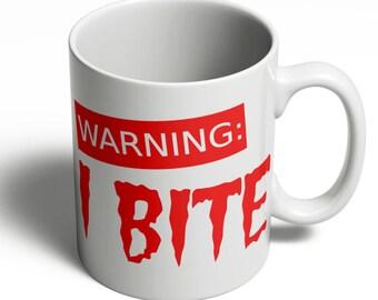 Zombie Mug | Zombie Walking Dead | Grumpy Morning | Birthday Gift | Zombie Lover Gift | Warning I Bite Coffee Cup  | 11oz Ceramic 180