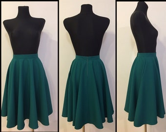 938a5a573ebf Full circle dark green skirt knee lenght. Beautiful A line skirt for a prom  or wedding. Free shipping. Teal Waist height A line skirt