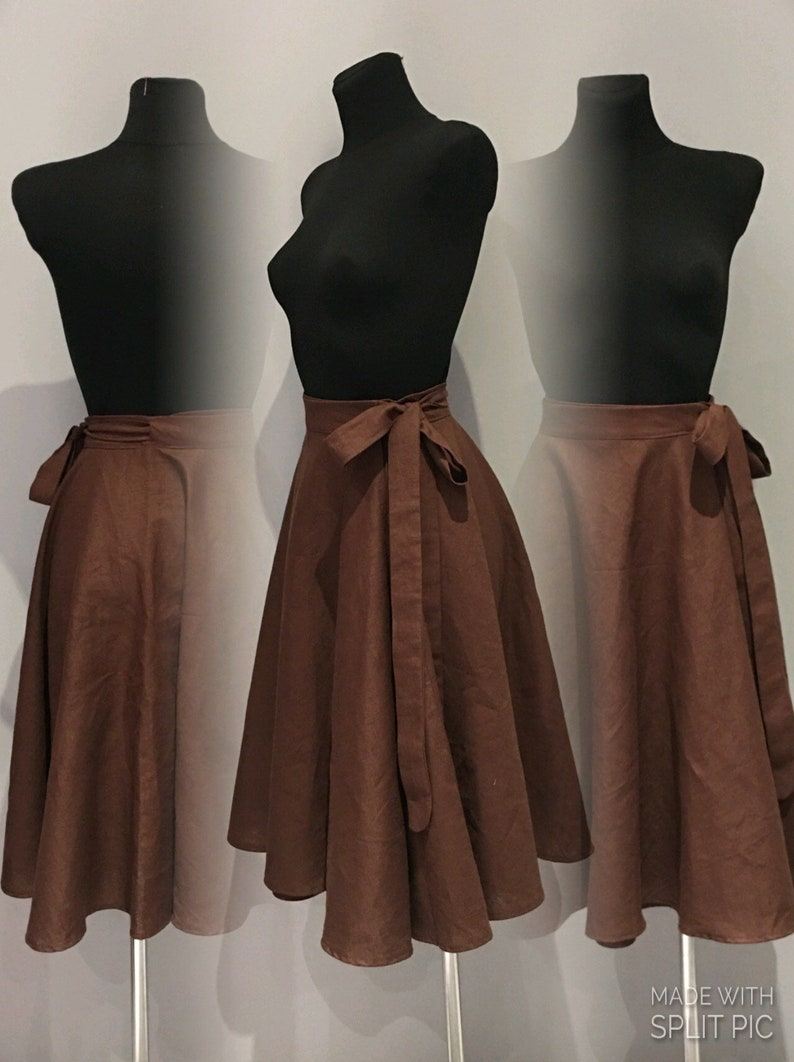 Full circle wrap skirt with pockets made from natural Nettle fabric.