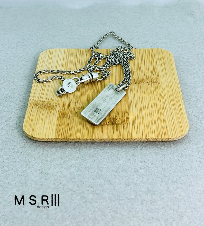 Dog Tag with Skull Pendant Chain Necklace Sterling Silver Handmade