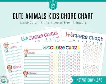 Chore Chart for kids, Kids Chore Chart, Printable Chore Chart, Responsibility Chart, Boys Chore Chart, Girls Chore Chart, Kids Checklist