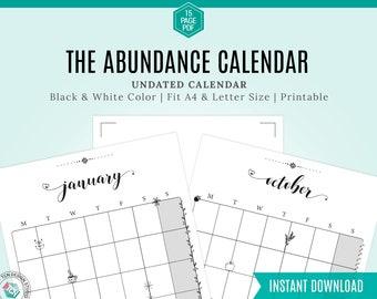2021 calendar digital download pdf, Printable Monthly Calendar, Printable, Undated Calendar, Monday start, Sunday start, Abundance mindset