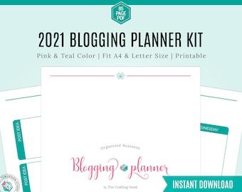 2021 Blog Planner, Pink & Teal Blogging Planner, Printable Planner, Blog Binder, Planner Kit, Business Planner Pack, Planner Inserts