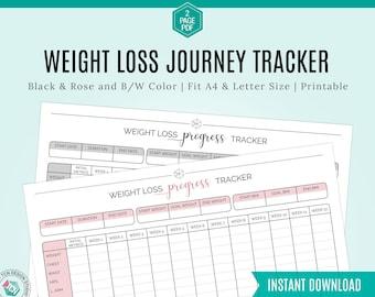 12-week Weight loss journey Tracker Printable, Self Care Motivational chart tool, Health goals Planner, Wellness chart, Fitness Journal