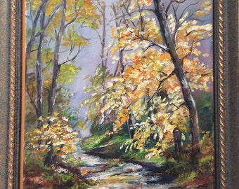 oil painting, oil on canvas landscape with mountain path, nature, oil on canvas, Original, landscape