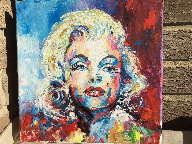 portrait marilyn monroe pop art 30cmx30cm inches 11 etsy. Black Bedroom Furniture Sets. Home Design Ideas