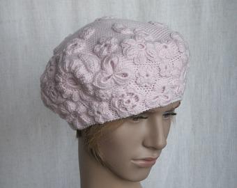 85994a87 Womens crochet hat merino wool soft beret pure wool tam hat for women pale  pink luxurious flower hat