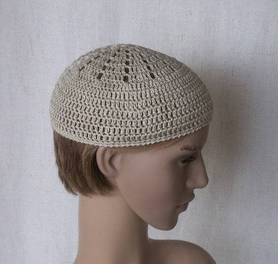 4bb920cc59d Skullcap linen skull hats kufi hats short flax beanie for
