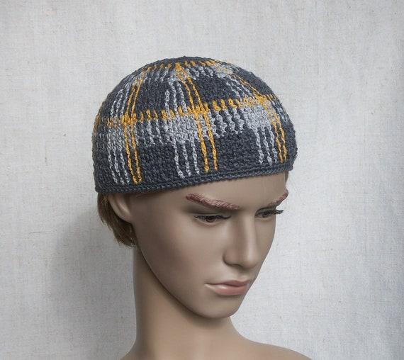 2e77be29cc6 Skull-hat for men linen crochet skull cap unisex kufi hat