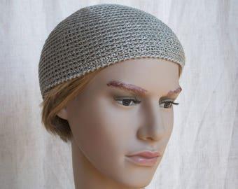 Grey flax men's skullcap, crocheted short linen beanie for men, men's summer hat, simple grey linen sun hat for men