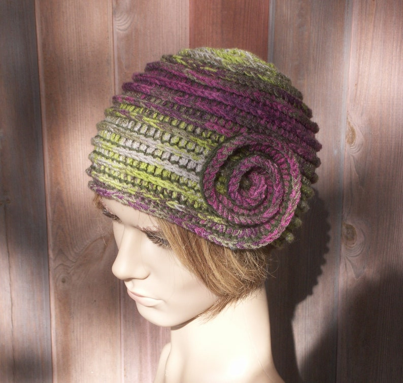 crochet boho style beanie hat flapper hat for women multicolor warm cap Womens winter hat in green purple pink colors