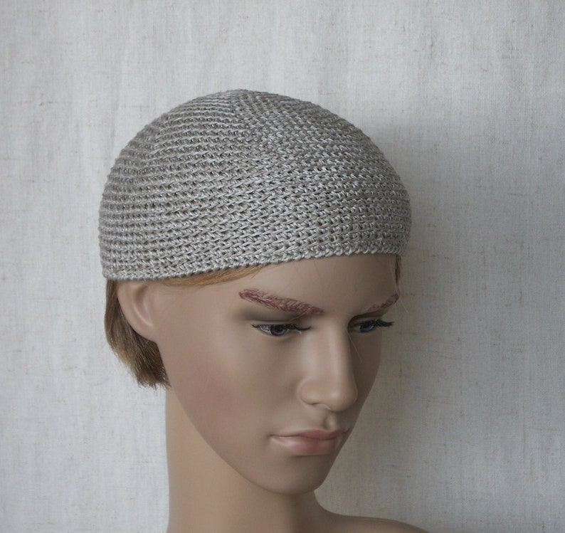 e47b5b16992 Grey flax men s skullcap crocheted short linen beanie for