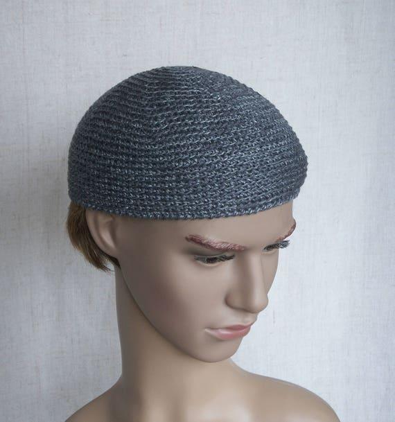 9c7c50d55e0 Grey linen men s skull-cap metal grey flax short hat for