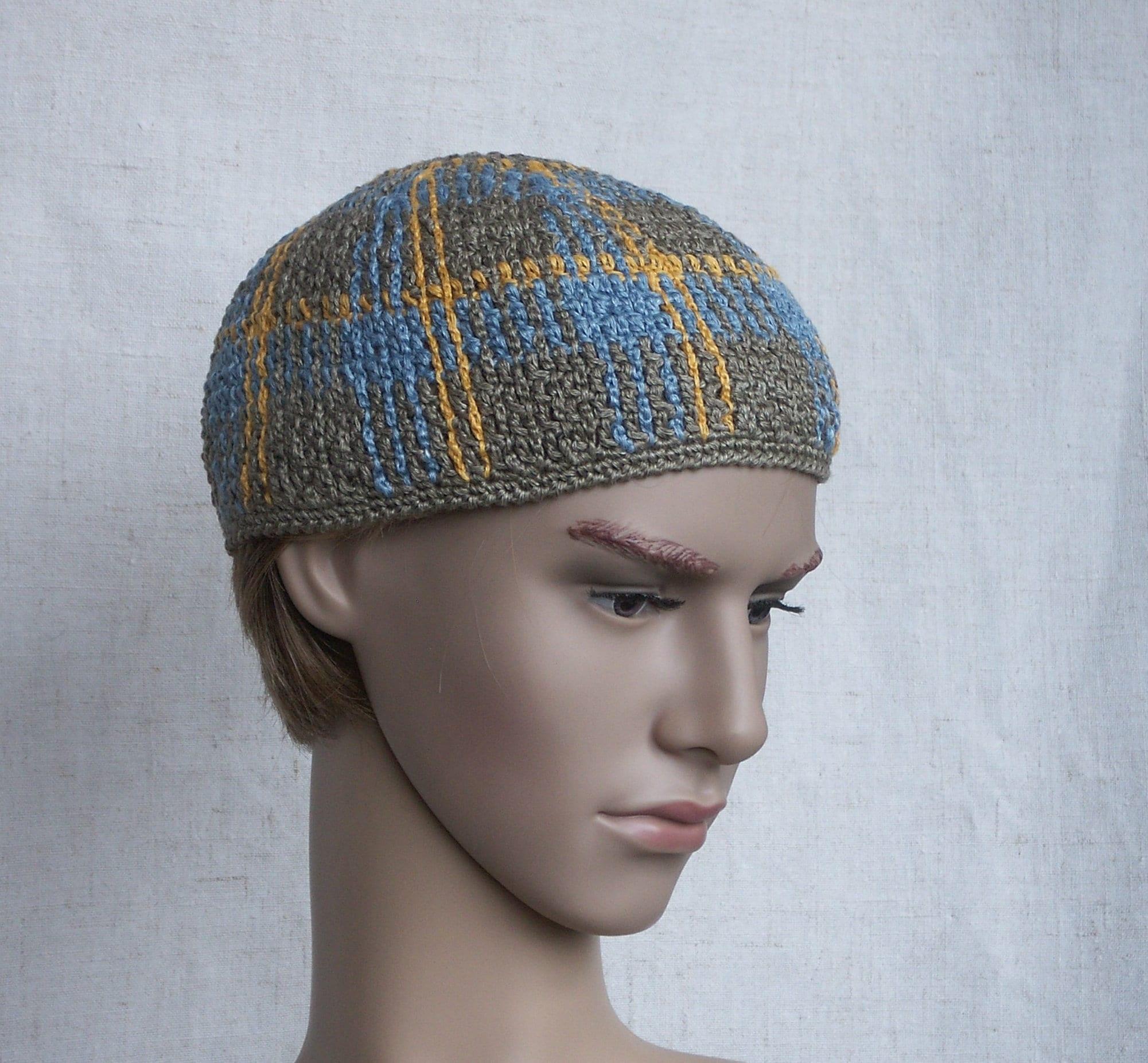 Skull Hat For Men Linen Crochet Skull Cap Unisex Kufi Hat Etsy