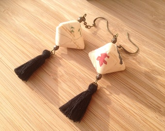 Origami earrings cherry - washi paper
