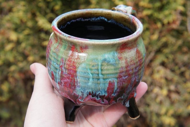 Cauldron Mug in Sonoran Sunset red burgandy orange wine gemstone ceramic pottery mug brew coffee tea soup cup bowl