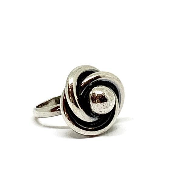 Silver Modernist ring 1970s. Dutch silver hallmark