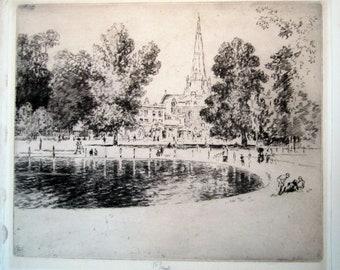 Vintage Antique Print Joseph Pennell Momchrome Etching Church