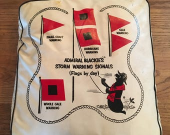Vintage Admiral Blackie's Storm Signals and Knots Cushion